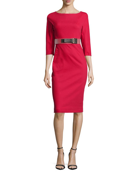Half-Sleeve Belted Sheath Dress, Lacquer