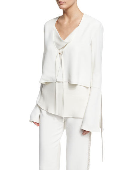 Derek LamFluted-Sleeve Cropped Jacket, Ivory