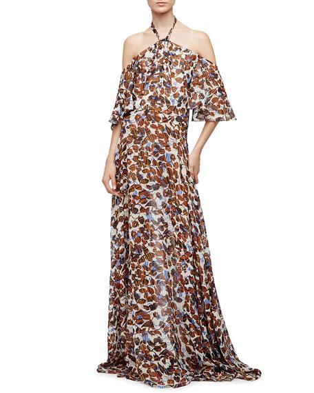 Derek Lam Halter-Neck Floral-Print Silk Chiffon Gown,