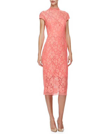 Lela Rose Cap-Sleeve Lace Sheath Dress, Pink/Multi