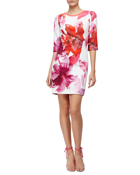 Carolina Herrera 3/4-Sleeve Lily Sheath Dress, Pink Floral