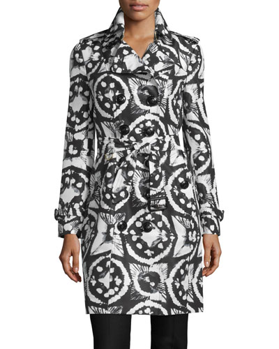 Sandringham Long Tie-Dye Faille Trenchcoat, Black/White