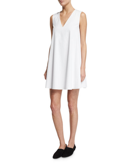 THE ROW Glendale Sleeveless V-Neck Mini Swing Dress, White