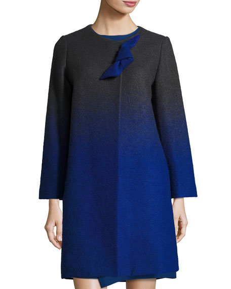 Armani Collezioni Long-Sleeve A-Line Ombre Coat, Black/Blue/Multi