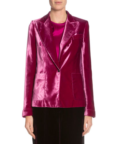 One-Button Velvet Jacket, Fuchsia