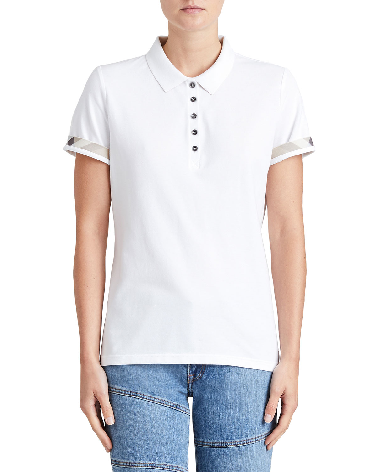 f96f1867be77 Burberry Slim-Fit Polo Shirt with Check Trim, White   Neiman Marcus