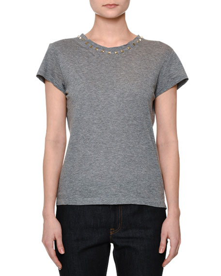 Valentino Short-Sleeve Rockstud-Trim T-Shirt, Gray
