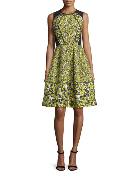 Oscar de la Renta Sleeveless Floral-Print Cocktail Dress,