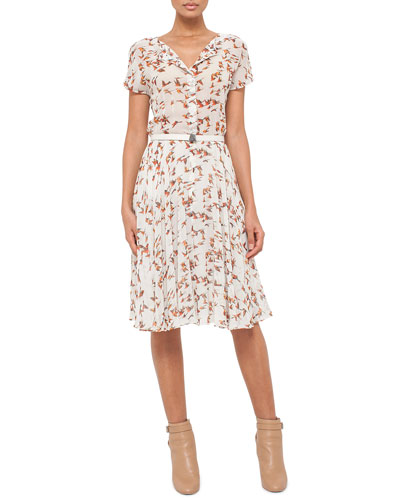 Short-Sleeve Karminspint Bird-Print Belted Dress, Multi Colors