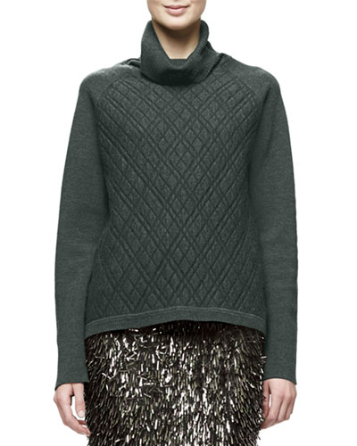 Long-Sleeve Turtleneck Sweater, Olive
