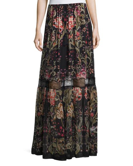 Galaxy Garden-Print Tiered Maxi Skirt, Red/Black