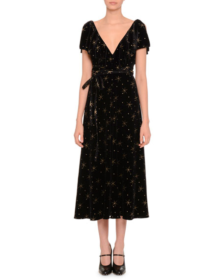 Short-Sleeve Glitter Star-Print Midi Dress, Black