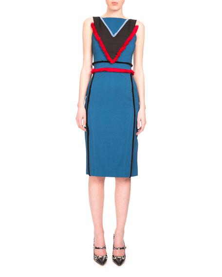 Altuzarra Caufield Colorblock Dress W/Fringe Trim, Sapphire