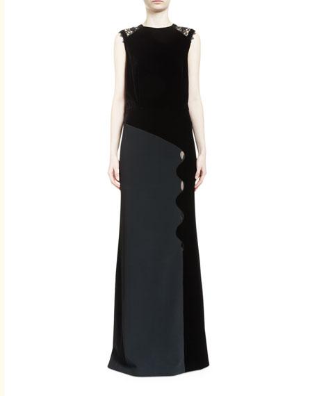 Melroy Wavy-Trim Sleeveless Keyhole Gown, Black