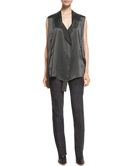 Seamed Suede Straight-Leg Pants, Graphite