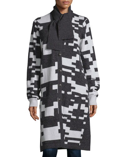 Cashmere Pixel-Print Long Cardigan, Charcoal/White