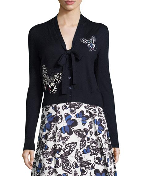 Carolina Herrera Butterfly-Appliqué Tie-Neck Cardigan, Navy