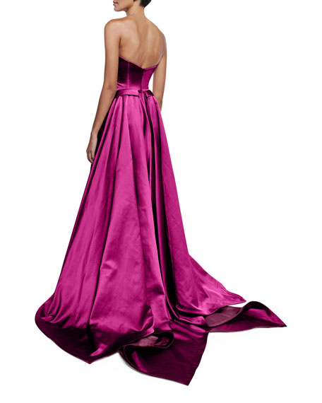 Strapless Pleated High-Low Gown