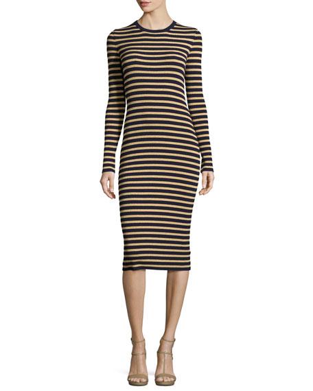 Michael Kors Collection Metallic-Stripe Long-Sleeve Midi Dress,