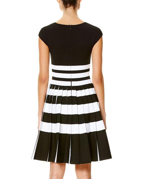 Striped Cap-Sleeve Pleated Dress, Black/White
