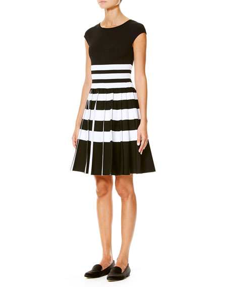 Striped Cap-Sleeve Pleated Dress, Black/White