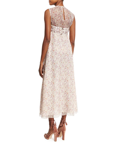 Sleeveless Floral Faux-Bandeau Dress, Blush