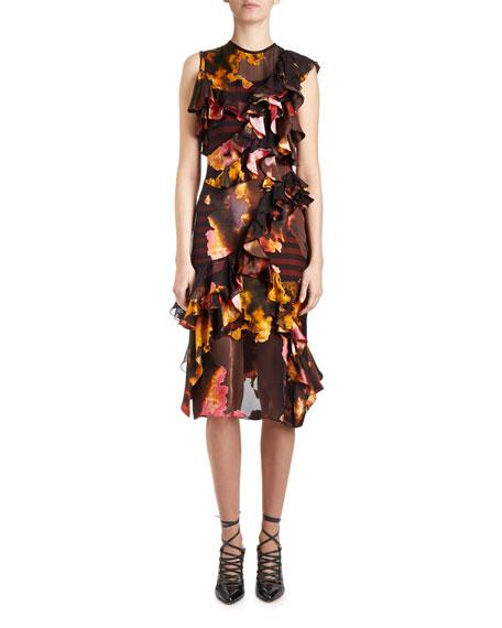 Givenchy Orange Blossom Ruffled Sleeveless Dress, Black/Multi