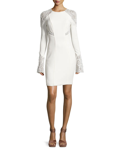 Pamella Roland Embellished Lace-Inset Cocktail Dress, White