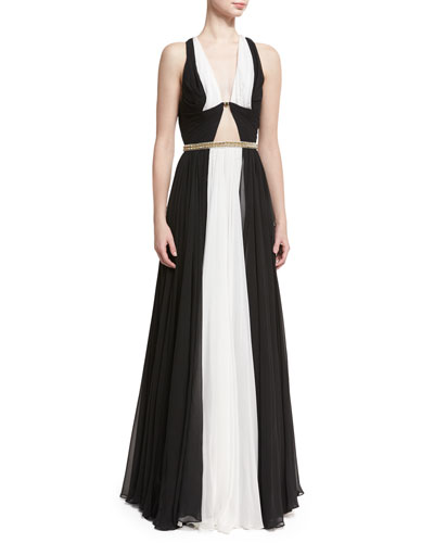 Sleeveless Colorblock Belted Gown, Black/White