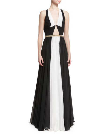 Jenny Packham Sleeveless Colorblock Belted Gown, Black/White