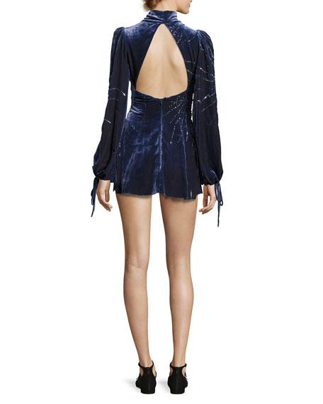 Sequined Velvet Bell-Sleeve Dress, Navy