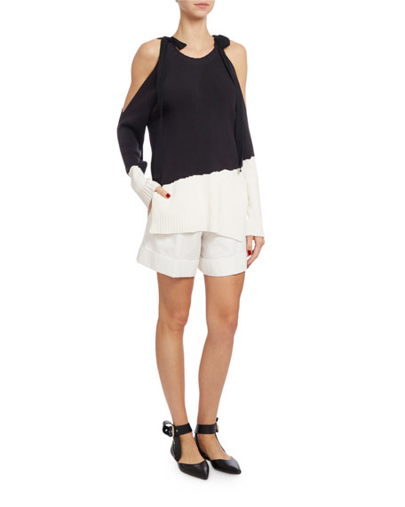 Tied Cold-Shoulder Colorblock Sweater, Dark Blue/White