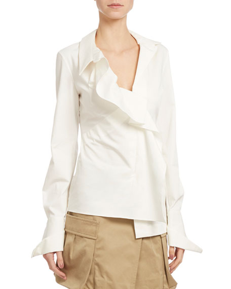 Monse Long-Sleeve Dobby French-Cuff Blouse, White