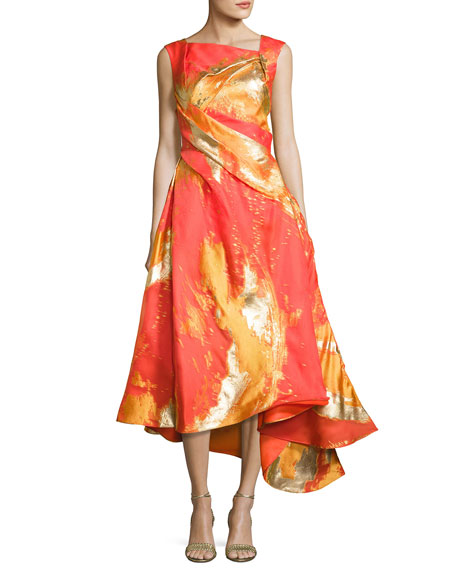 Rubin Singer Metallic-Print Draped Cocktail Dress with Asymmetric