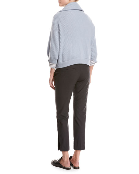 Ribbed Cashmere Zip-Front Sweater