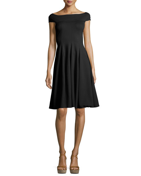 Milano Jersey Off-the-Shoulder Fit & Flare Dress