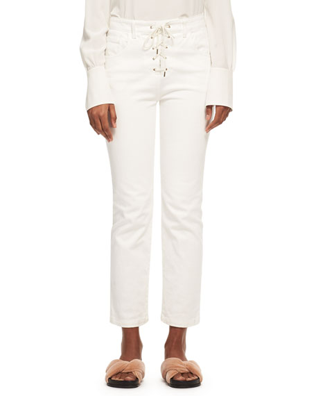 Chloe Mock-Neck Silk Crepe Button-Back Blouse, White and