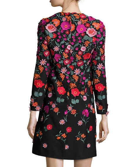 Floral-Embroidered Long-Sleeve Shift Dress, Black