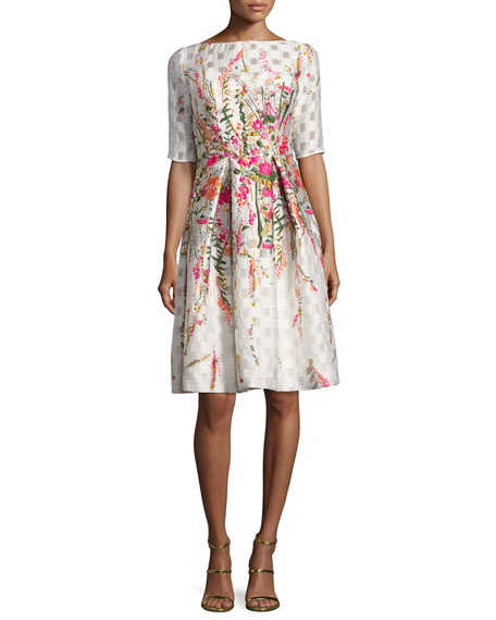 Lela rose floral embroidered pleated cocktail dress