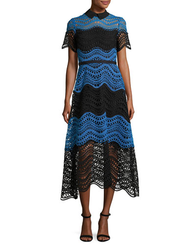 Wavy Striped Lace Midi Shirtdress, Black/Blue