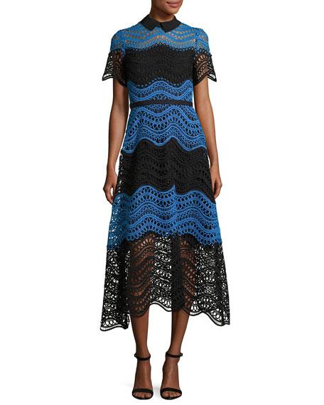 Lela Rose Wavy Striped Lace Midi Shirtdress, Black/Blue