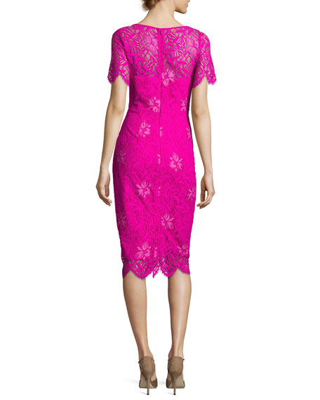 Image 3 of 3: Lela Rose Floral Lace Short-Sleeve Sheath Dress, Fuchsia