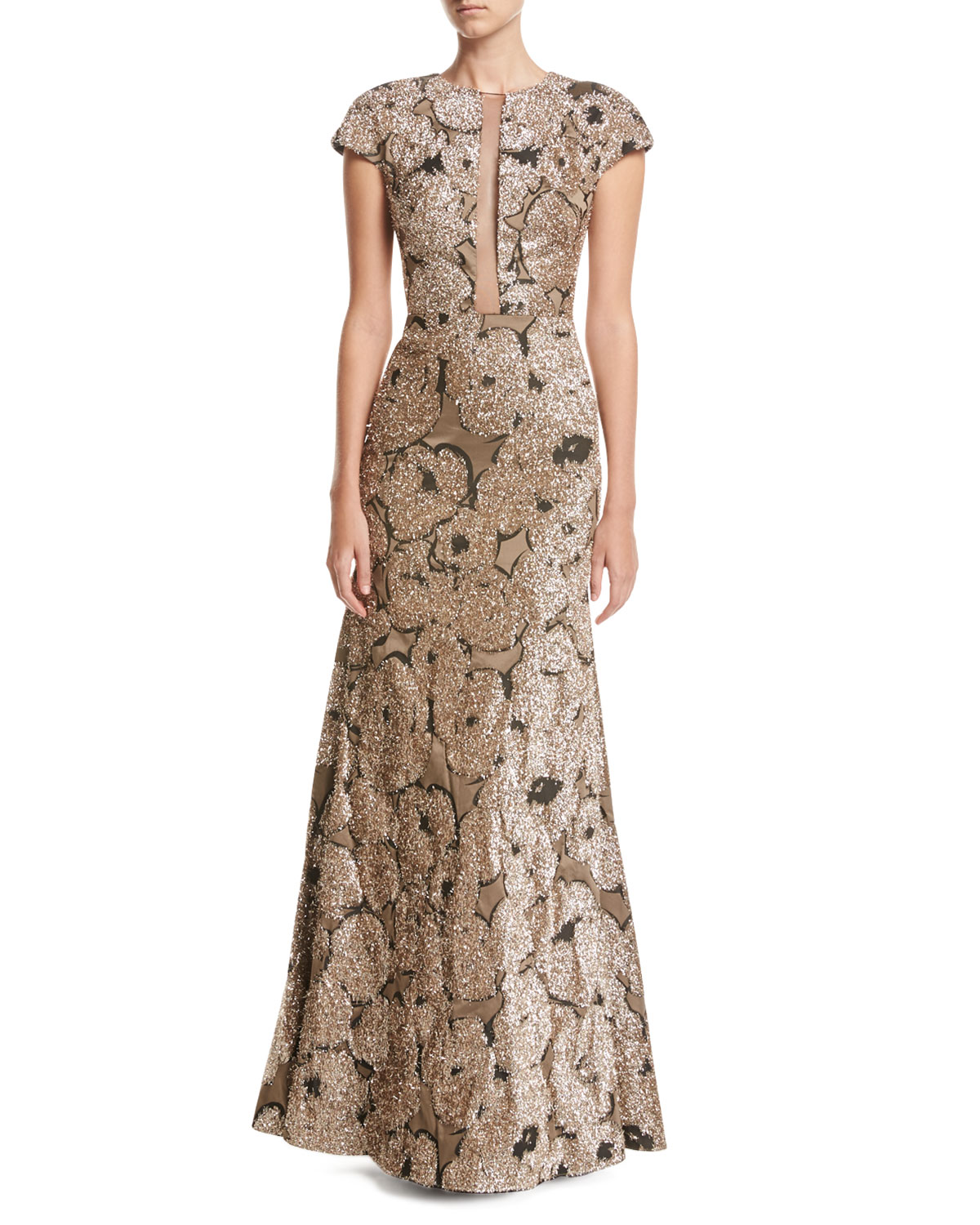 Metallic Tinsel Jacquard Tulle Inset Column Gown With Detachable Brooch Gold