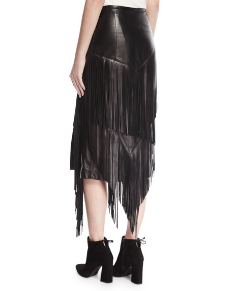Fringed Lamb Leather Pencil Skirt, Black