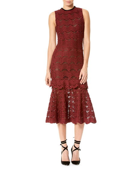 Carolina Herrera Silk Crochet Sleeveless Flounce Dress, Wine