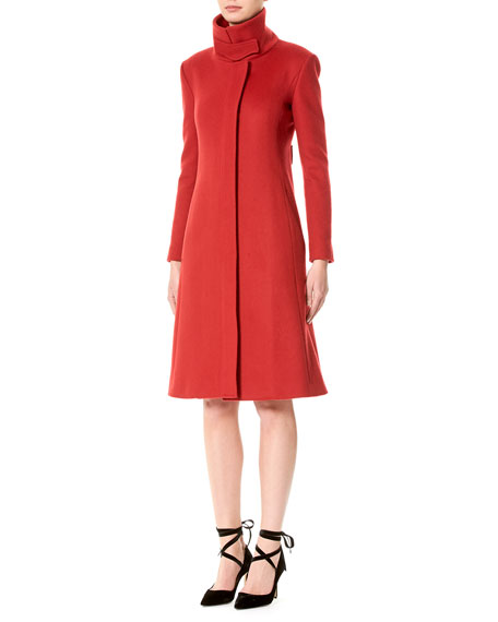 Wool Funnel-Neck Coat, Red