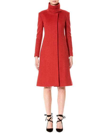 Carolina Herrera Wool Funnel-Neck Coat, Red