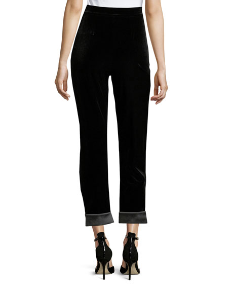 Velvet Cuffed Fashion Pants, Black