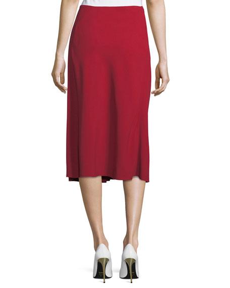 Asymmetric Godet Midi Skirt, Red