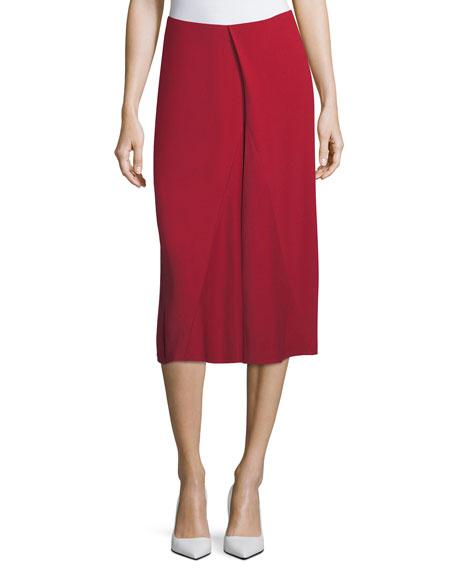 Victoria Beckham Asymmetric Godet Midi Skirt, Red